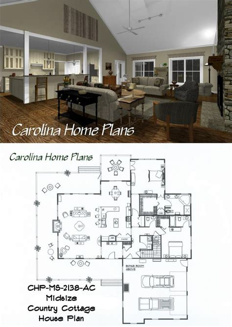 Cottage Home Plans midsize country cottage house plan with open floor plan