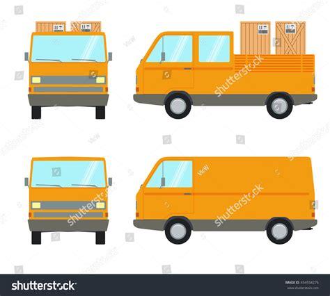 orange delivery orange delivery truck mini vector stock vector