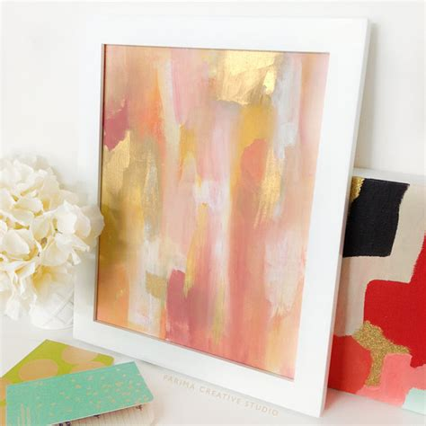acrylic painting gold pink and gold abstract acrylic painting 11x14 original