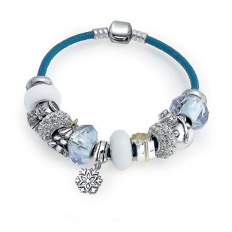 bracelets and charms snow sterling blue leather charm bracelet