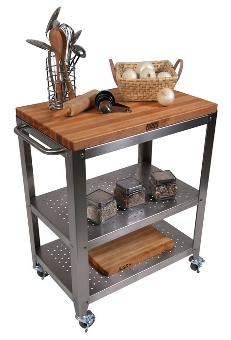Mobile Kitchen Island Butcher Block butcher block kitchen carts john boos catskill