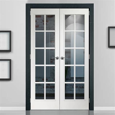white interior door with glass portobello white door pair with clear safety glass