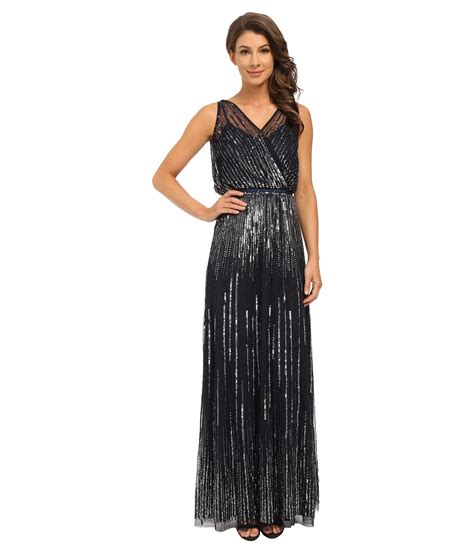 Papell Sleeveless Wrap Front Beaded Gown In Blue