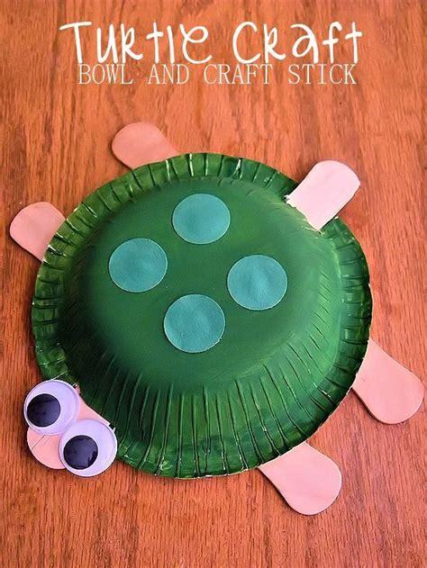 paper bowl crafts paper bowl and craft stick turtle craft crafts animal