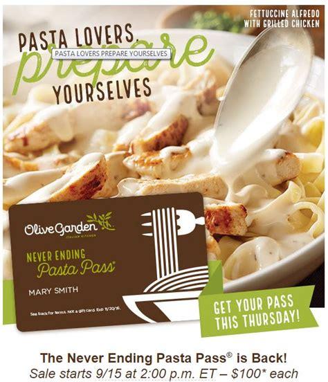 olive garden never ending pasta pass promotion returns on sale at 2 p m thursday sept 15