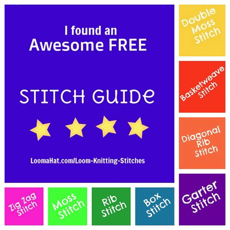 guide to knitting stitches loom stitch guide collage loomahat