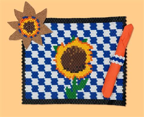 cool perler create this cool woven placemat and table setting using