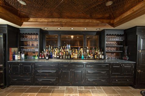 Decorating Ideas For Top Of Kitchen Cabinets custom built home basement bar traditional home bar