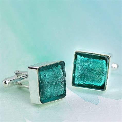 square glass murano glass square silver cufflinks by claudette worters