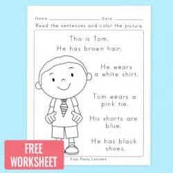 read colored free read and color reading comprehension worksheet