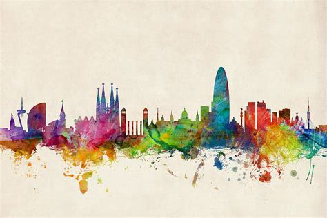 barcelona spain skyline digital art by michael tompsett