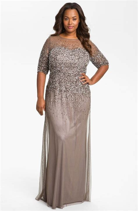 beaded illusion gown plus size s papell beaded illusion gown