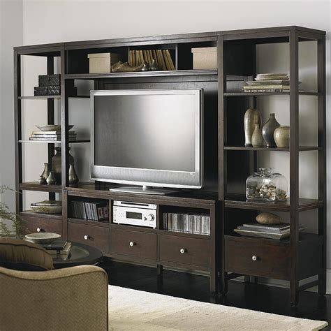 entertainment center shelves walnut entertainment center with open shelves
