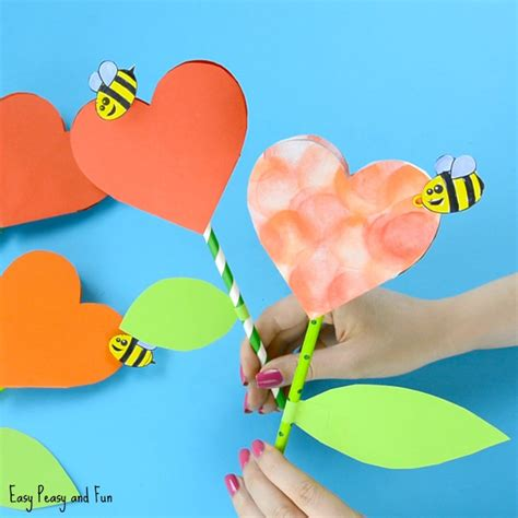 paper heart flower craft with template easy peasy and fun