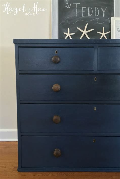 chalk paint navy blue sloan napoleonic blue dresser with original knobs