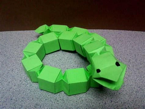 origami snake modular origami block snake by theorigamiarchitect on