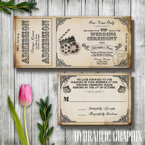 movie themed wedding invitation templates