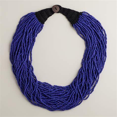 multi strand bead necklace blue multi strand beaded necklace world market