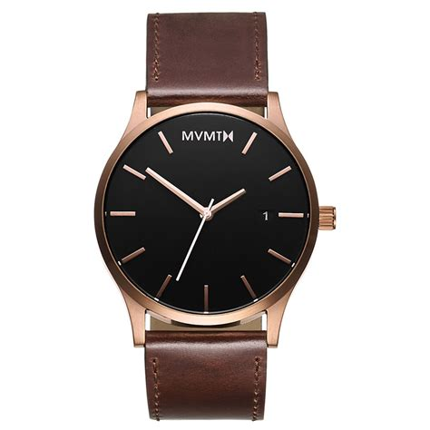 mens leather watches mvmt watches gold with brown leather s original ebay