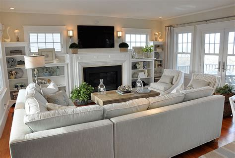 family room layouts cottage with neutral coastal decor home