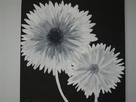 acrylic painting ideas black and white modern black white and gray flowers by emeraldinebyes