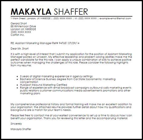 Free Cover Letter Samples assistant marketing manager cover letter sample livecareer