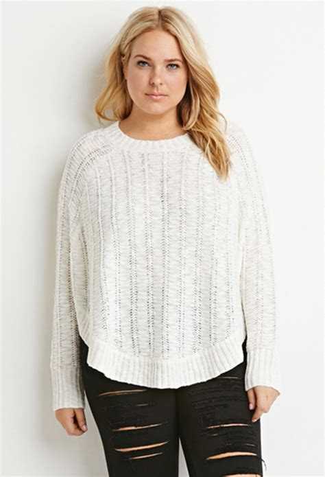 knitted sweaters forever 21 forever 21 beige plus size knit dolman sweater lyst