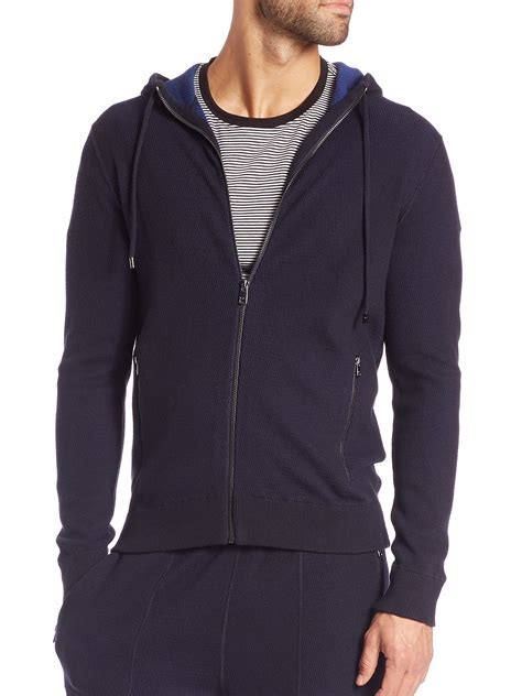 Michael Kors Plaited Waffle Knit Wool Cotton Hoodie In