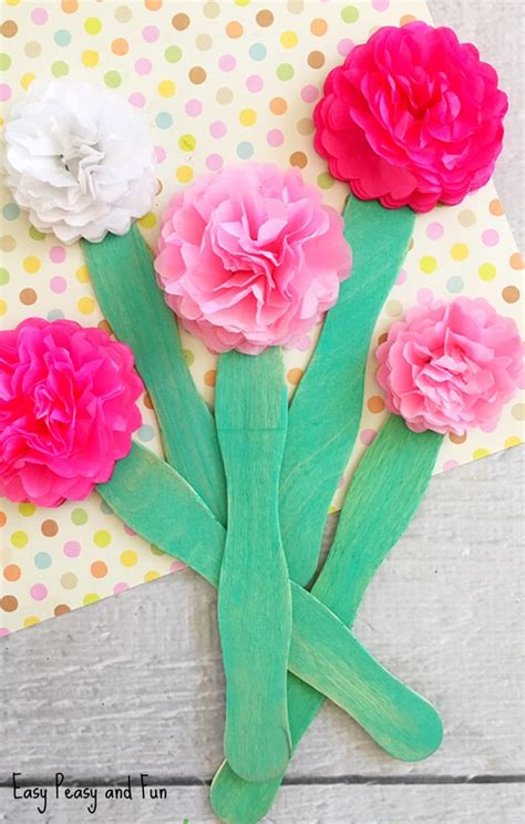 crafts to make with tissue paper tissue paper flower craft easy peasy and
