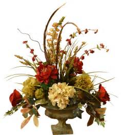 artificial floral arrangements peony and hydrangea silk flower arrangement with feathers