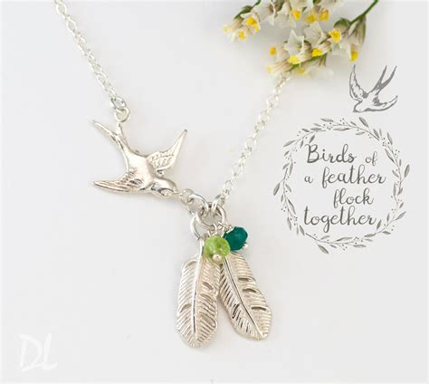feathers for jewelry silver bird feather necklace custom birthstone