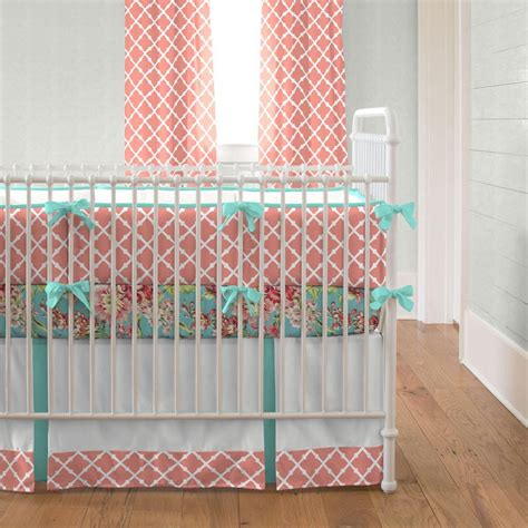 coral crib bedding sets light coral and teal lattice 2 crib bedding set
