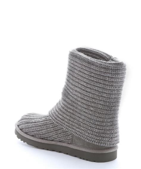 uggs grey knit boots ugg grey rib knit wool classic cardy boots in gray lyst