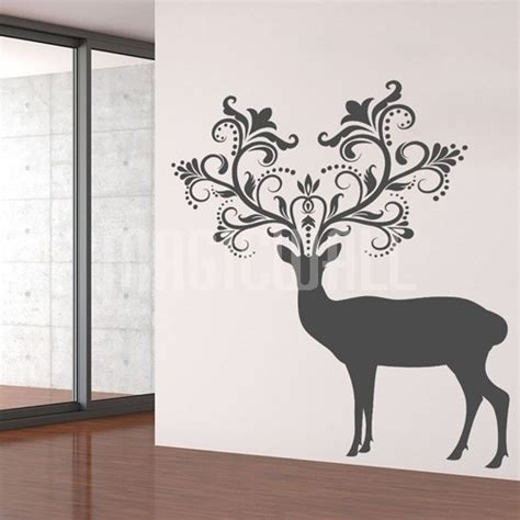 deer stickers for wall wall decals caribou deer patterned horns animal