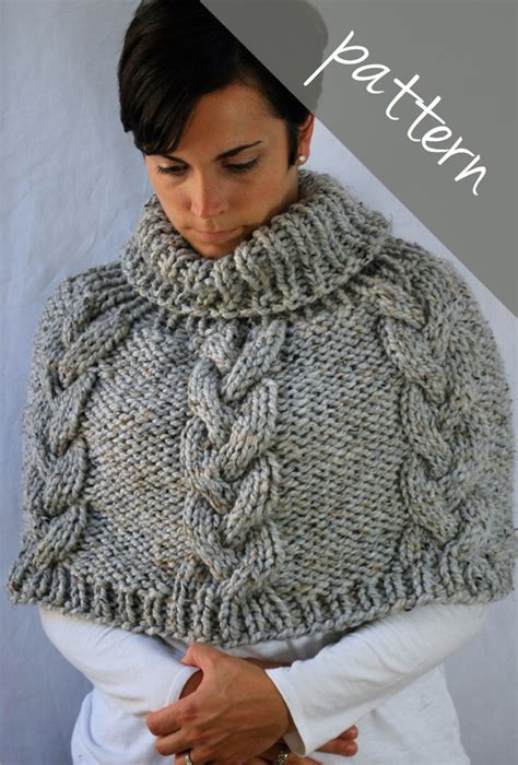 chunky poncho knitting pattern knitting pattern braided cable poncho cape chunky cape