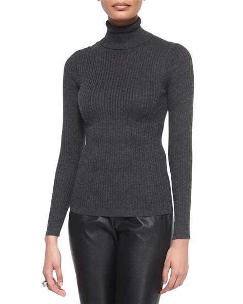 St Ribbed Knit Turtleneck Sweater In Gray Lyst