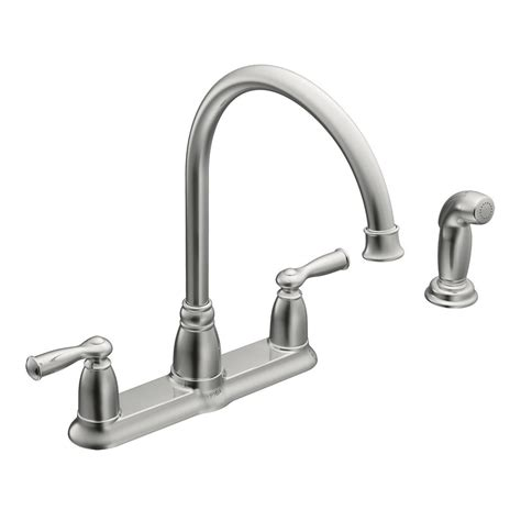 moen kitchen faucet models moen banbury high arc 2 handle standard kitchen faucet with side sprayer in chrome ca87000 the
