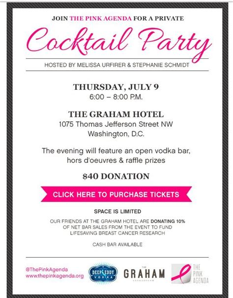 the pink agenda cocktail party the graham hotel georgetown