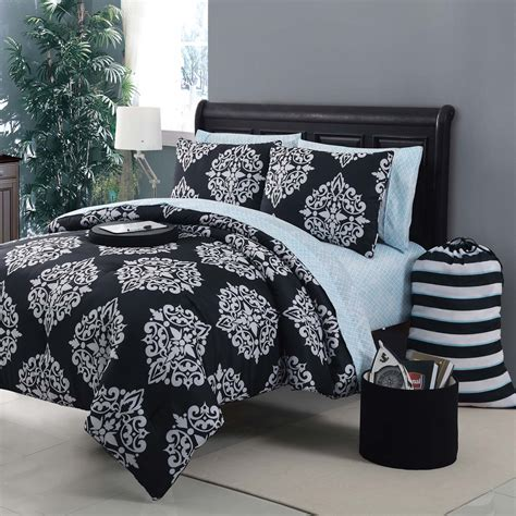 black white and blue comforter sets lush d 233 cor kenya 6 pc blue comforter set juvy home