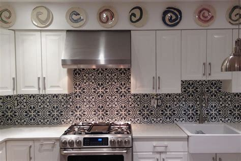 Diy Kitchen Backsplash Tile Ideas moroccan style grey patterned accent tiles for kitchen