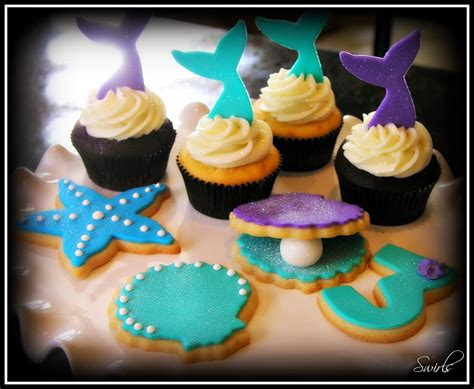 cupcakes and swirls cupcakes mermaid cupcakes and cookies