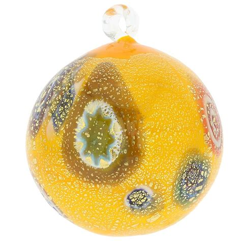 yellow ornaments tree ornaments murano glass medium millefiori