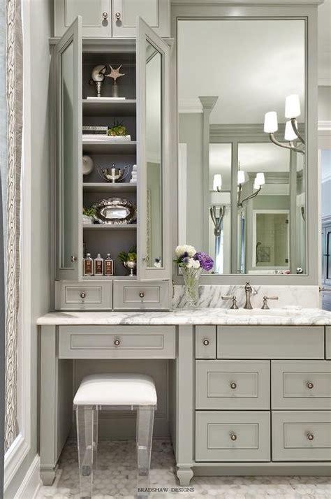 makeup vanity in bathroom gray bath vanity with lucite stool transitional bathroom
