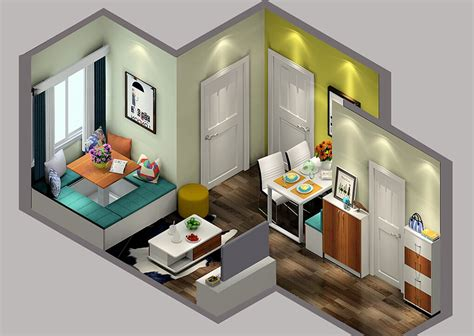 small house layout small house space layout sky view 3d house
