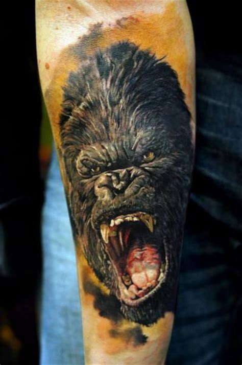 arm realistic gorilla tattoo by domantas parvainis