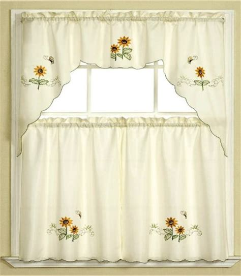 butterfly kitchen curtains bathroom window curtains 3pc beige with yellow sunflower
