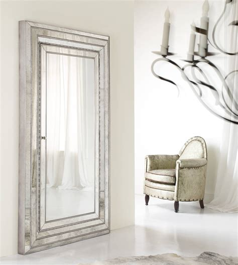 furniture sqaure silver wooden mirrored jewelry armoire
