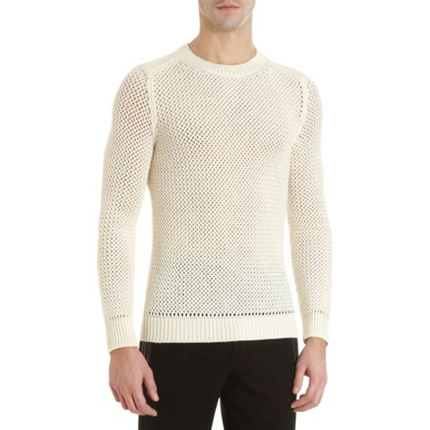 honeycomb knit sweater exemplaire open honeycomb knit sweater in white for lyst