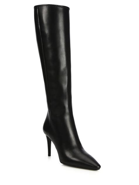 leather knee high boots for prada leather knee high point toe boots in black lyst