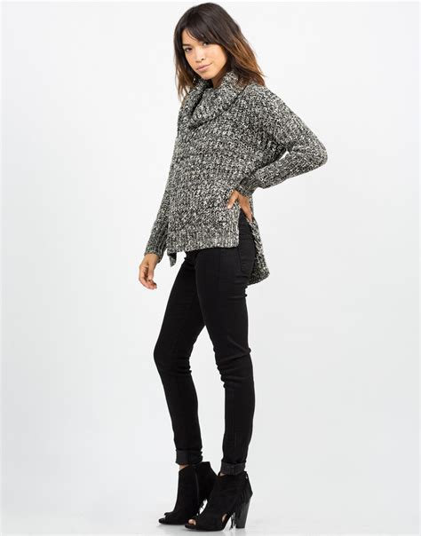 thick knit sweater thick mixed knit sweater black sweater turtleneck